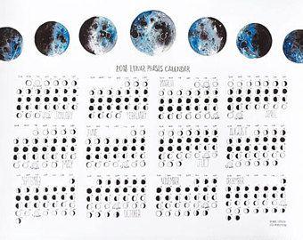 Lunar Phases Calendar 2018, Moon Phases, Moon Calendar | Gifts