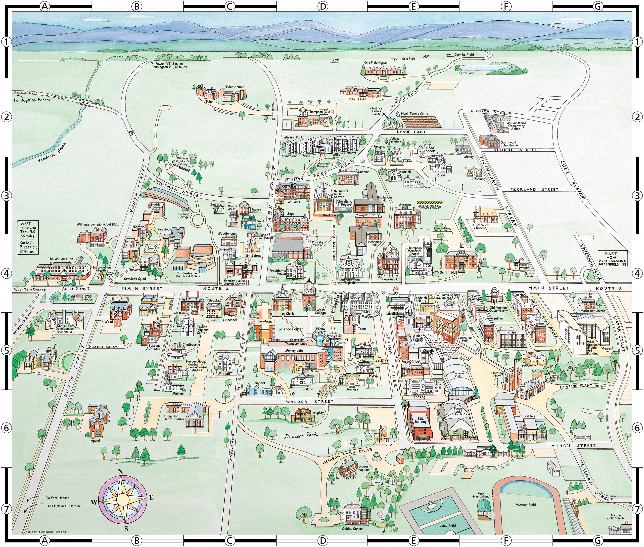 Williams College Map Williams College Campus Map | Pioneer Valley   The Berkshires