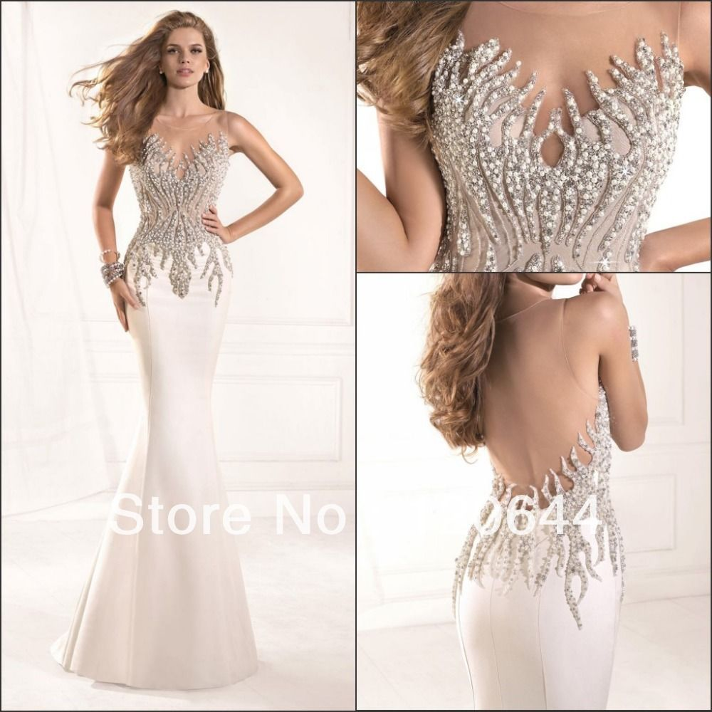 2014 Tarik Ediz Dress Most Radiant Mermaid Crystal Beaded Sheer ...