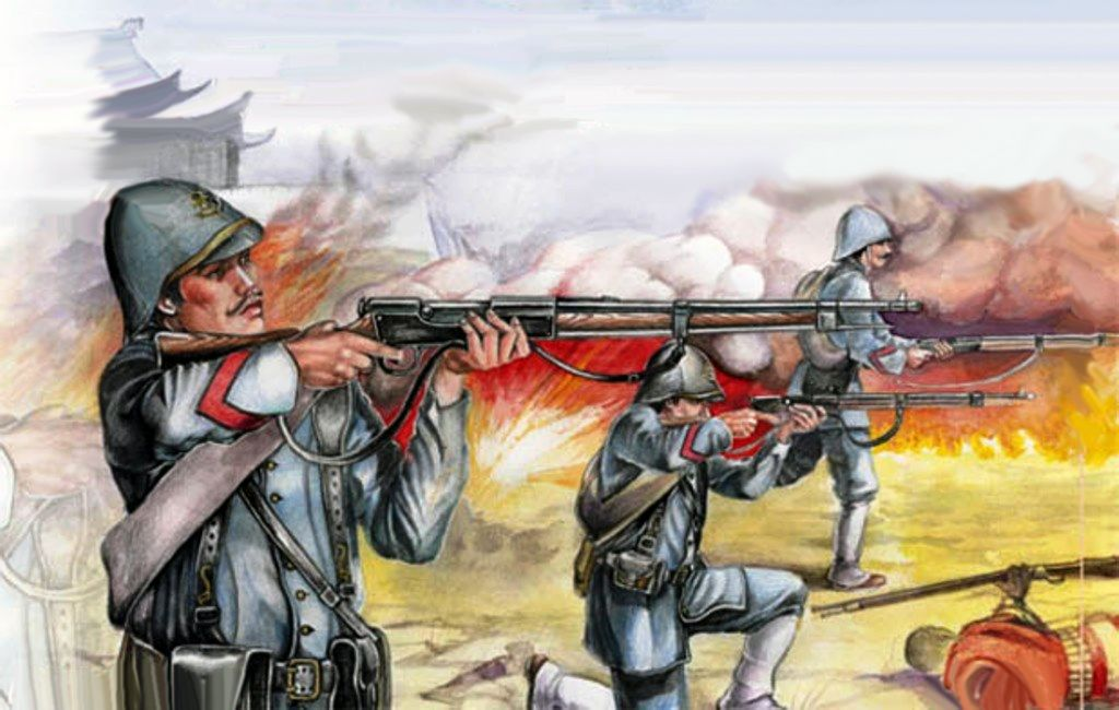 French Marines in battle, Boxer Rebellion, China Boxer