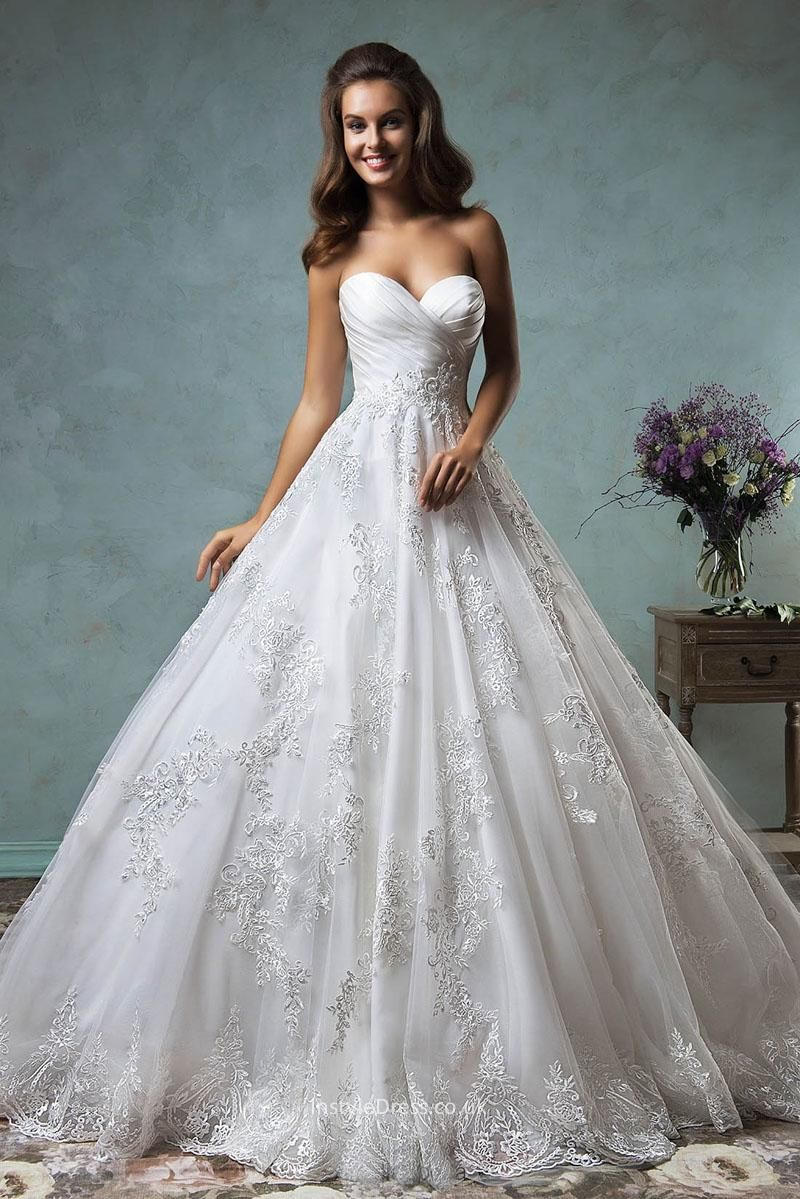 princess strapless sweetheart lace tulle backless ball gown wedding ...