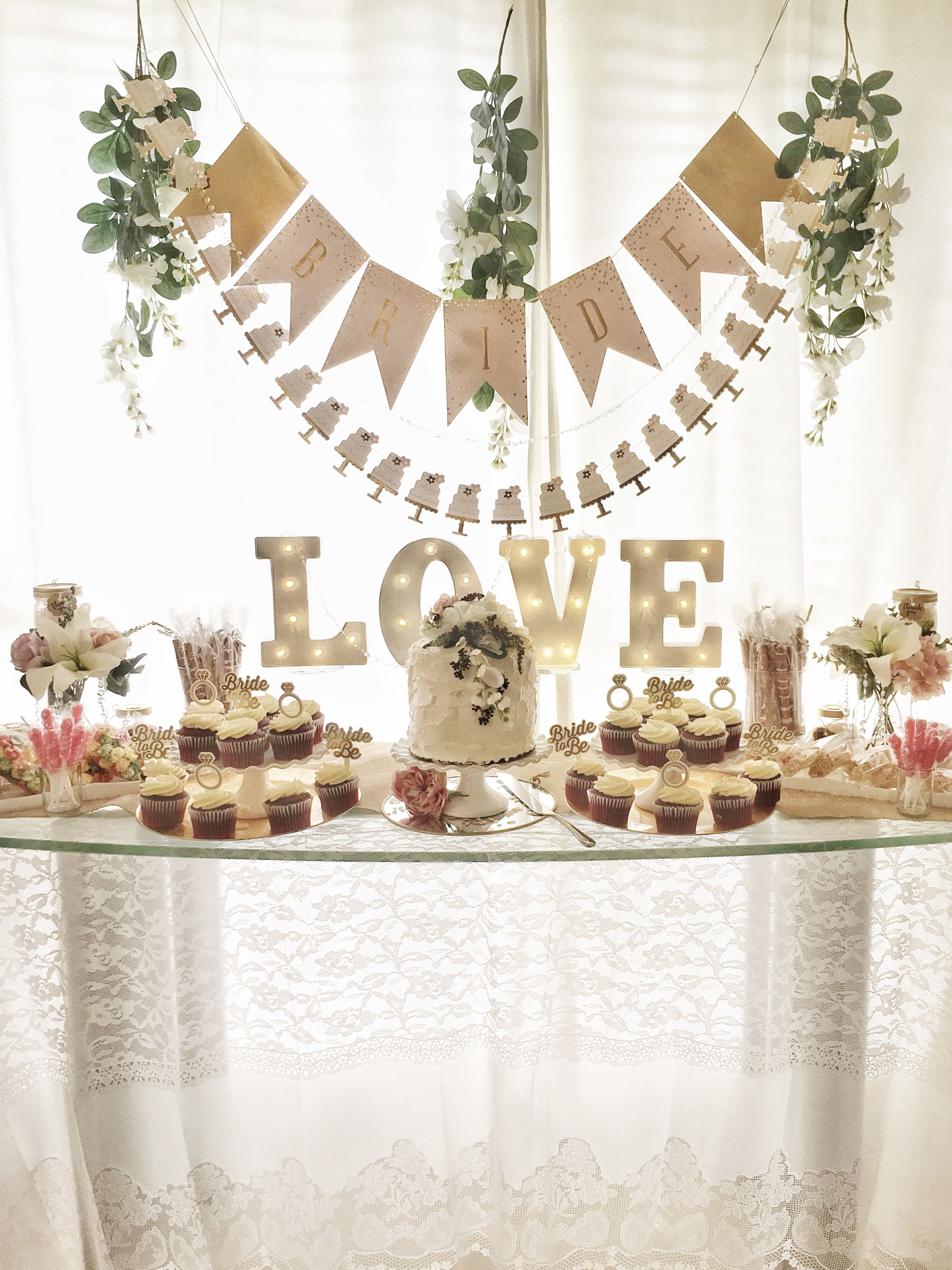 Beautiful candy bar decoration for a wedding or bridal shower