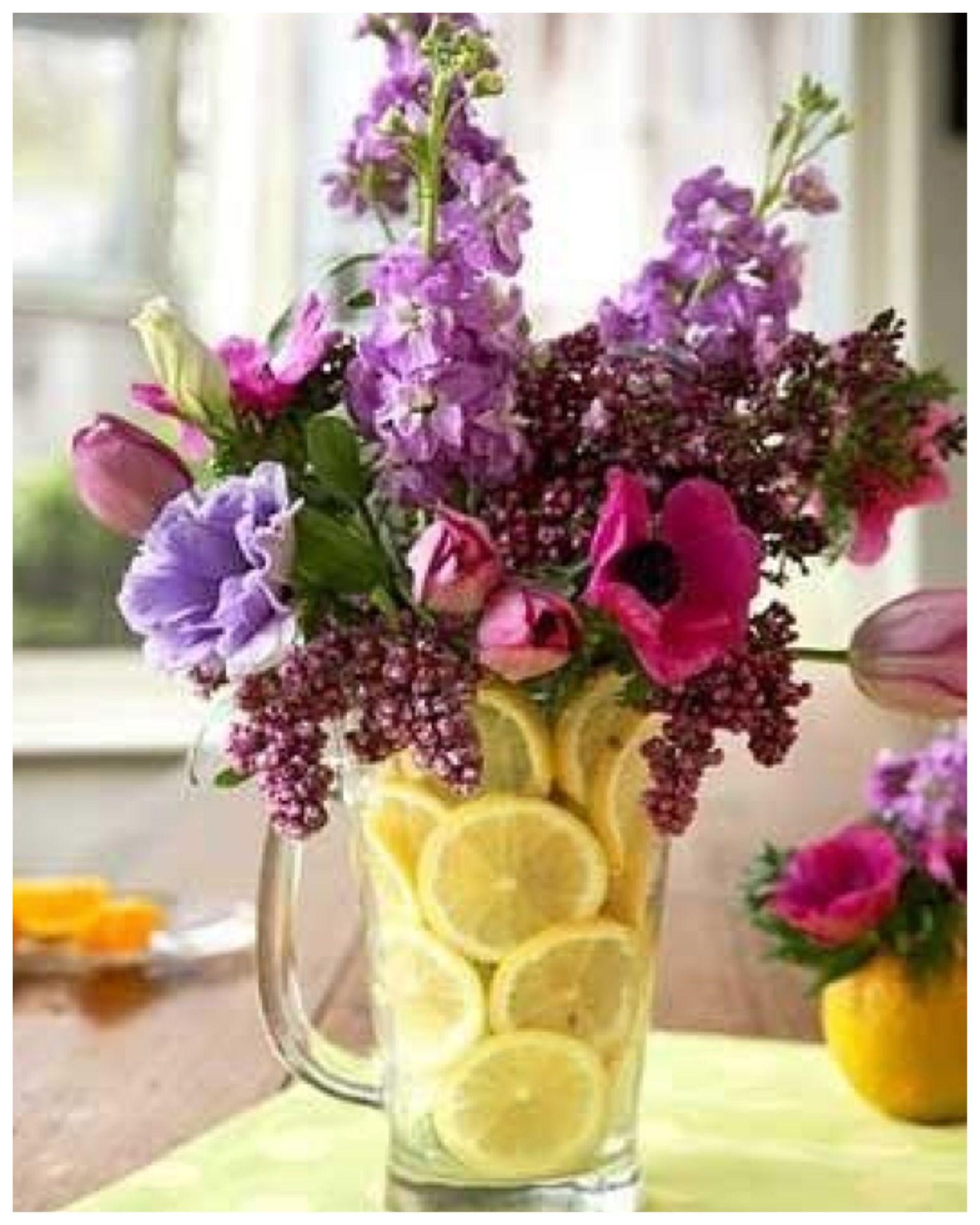 Lemon Flower Arrangement Simply Place A Vase In A Pitcher