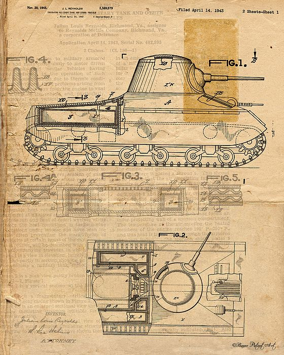 Military Tank Patent Drawing wall art. Click image for purchase info ...
