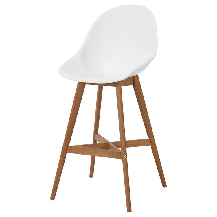 Fanbyn Bar Stool With Backrest White 25 1 4 White Bar Stools