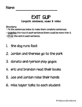 Exit Slip for Nouns, Verbs & Complete Sentences | Grammar & Words ...