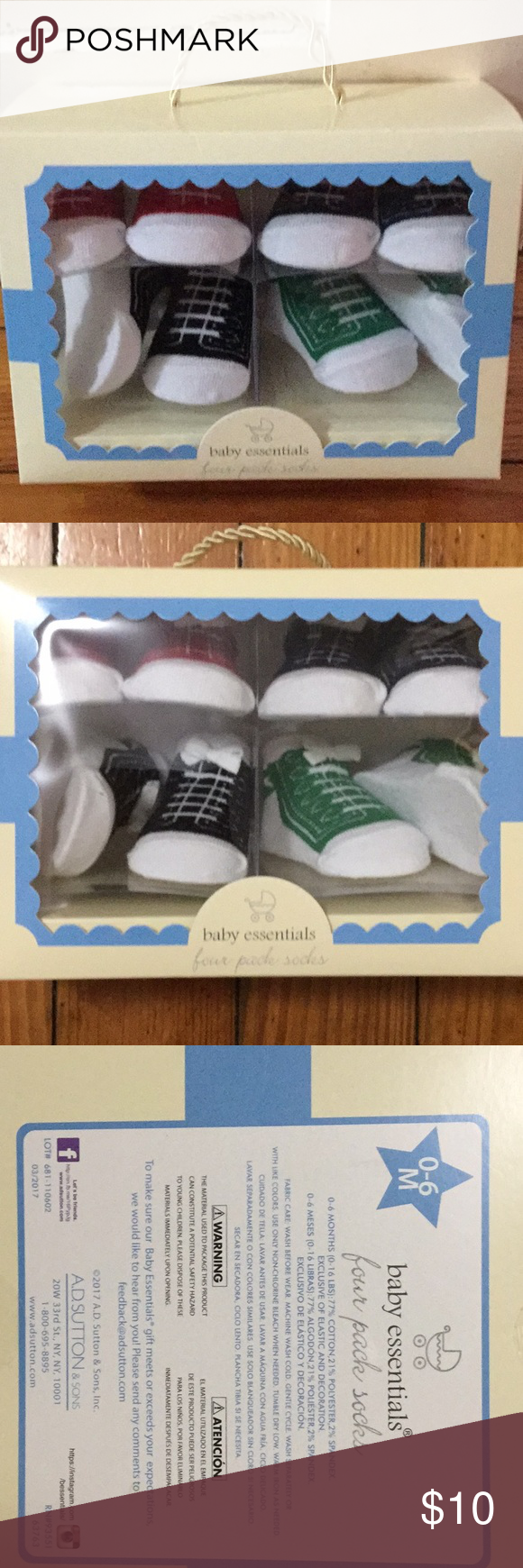 Nwt Four Pack 0 6m Baby Socks Red Green And Socks