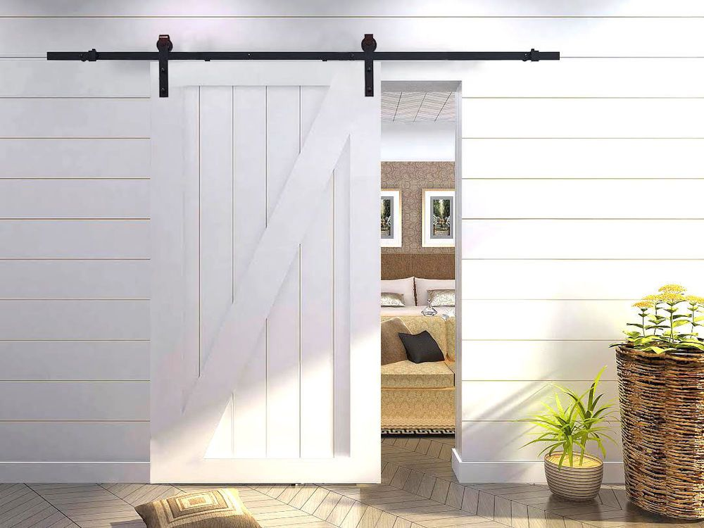 Barn Door Hardware Set For Sliding Wood Door Surface Frosted Black 1 72 Rail Interior Sliding Barn Doors Barn Doors Sliding Sliding Barn Door Hardware