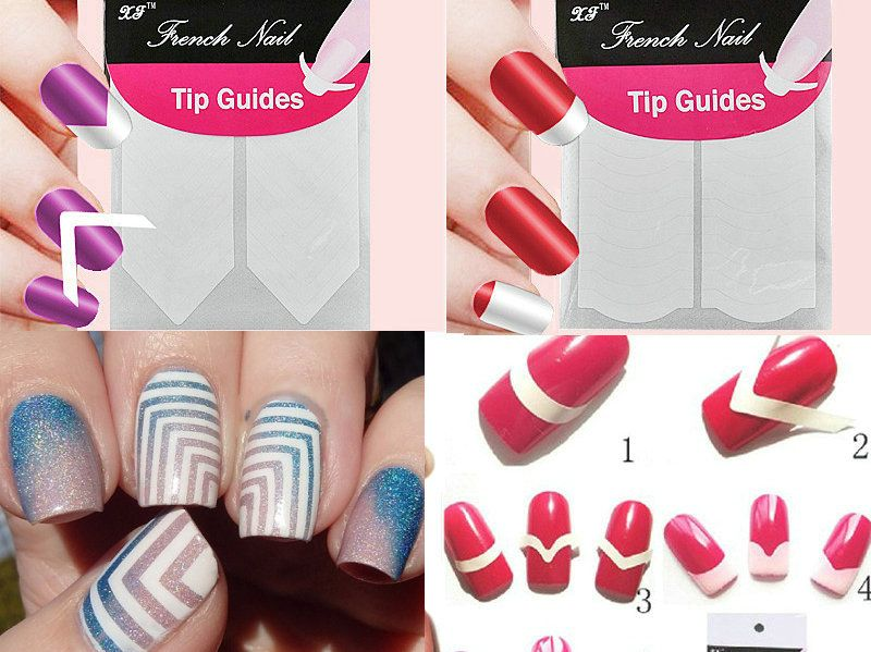 1pc Nails Sticker Nail Art Decals French Manicure Form Fringe Tips ...