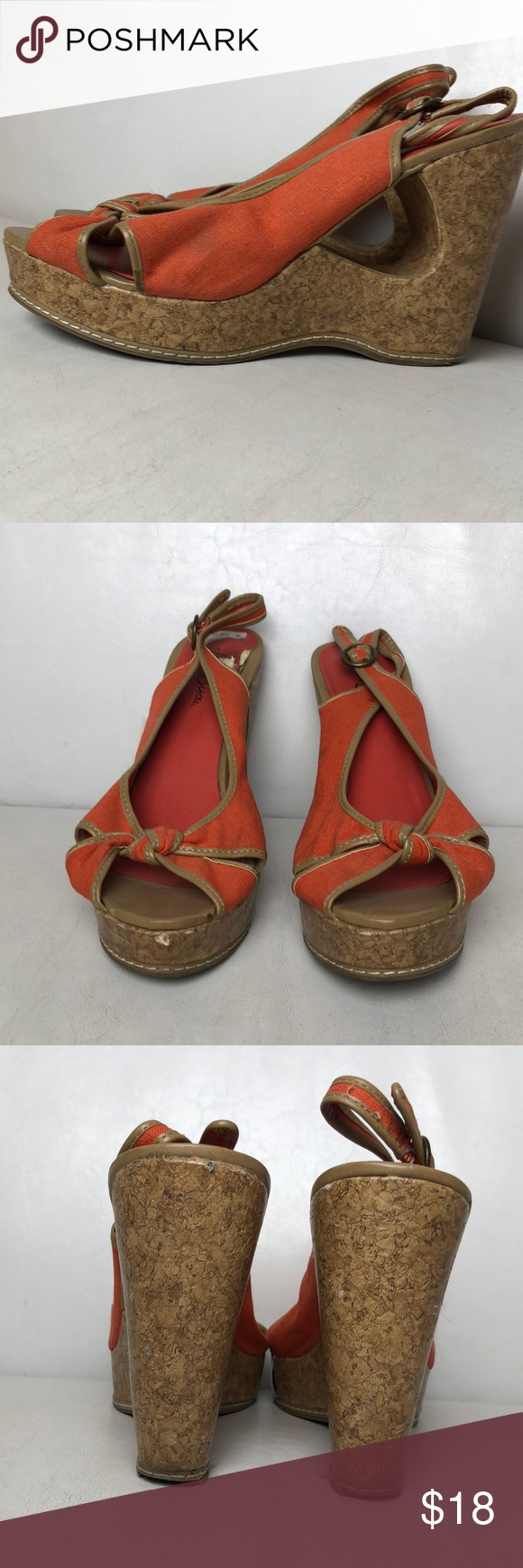 f77482db672d Miss Bisou Orange Cork Wedges EUC Super Cute Miss Bisou Orange Cork Wedges  Miss Bisou Shoes Wedges