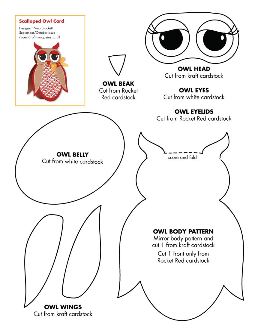 Owl crafts october 2010 patterns septemberoctober 2010 free owl pattern technically a paper craft pattern but id let the kids color them on white paper and then assemble jeuxipadfo Choice Image