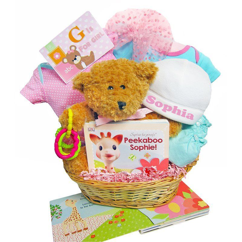 Cashmere Bunny Personalized G is for Girl Gift Basket - GIFG