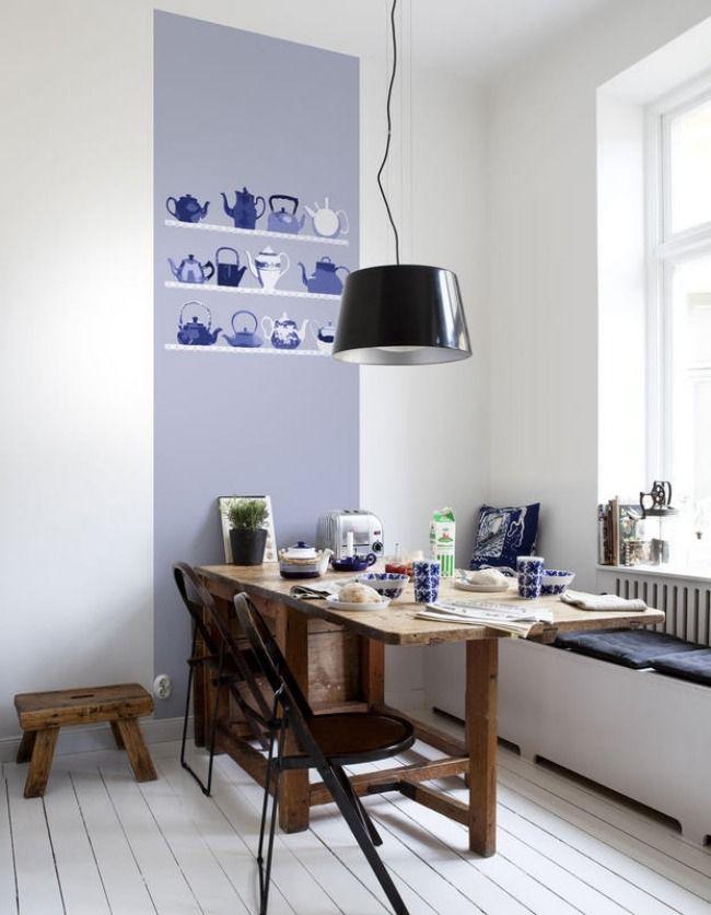 Realistische Wand Tapeten Küche-rustikaler Tisch-Pendelleuchte Einr