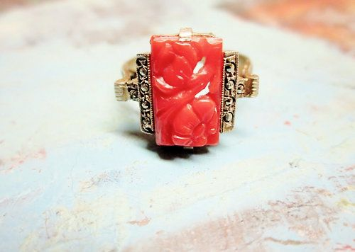 Art Deco Carved Carnelian Ring