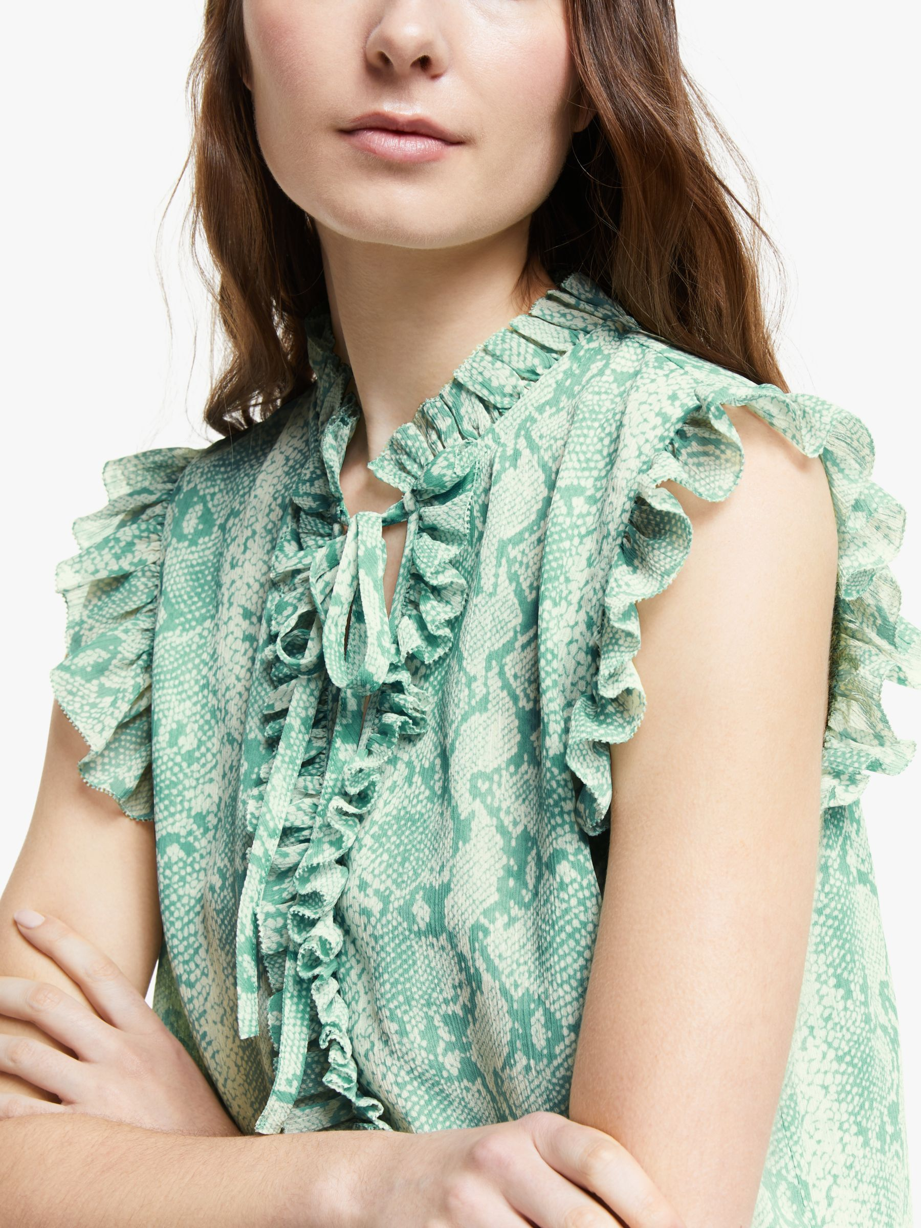 Somerset By Alice Temperley Python Print Frill Detail Sleeveless