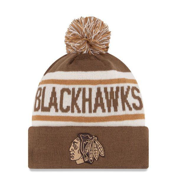 ef647db507f Men s Chicago Blackhawks New Era Brown Biggest Fan Redux Knit Hat With Pom