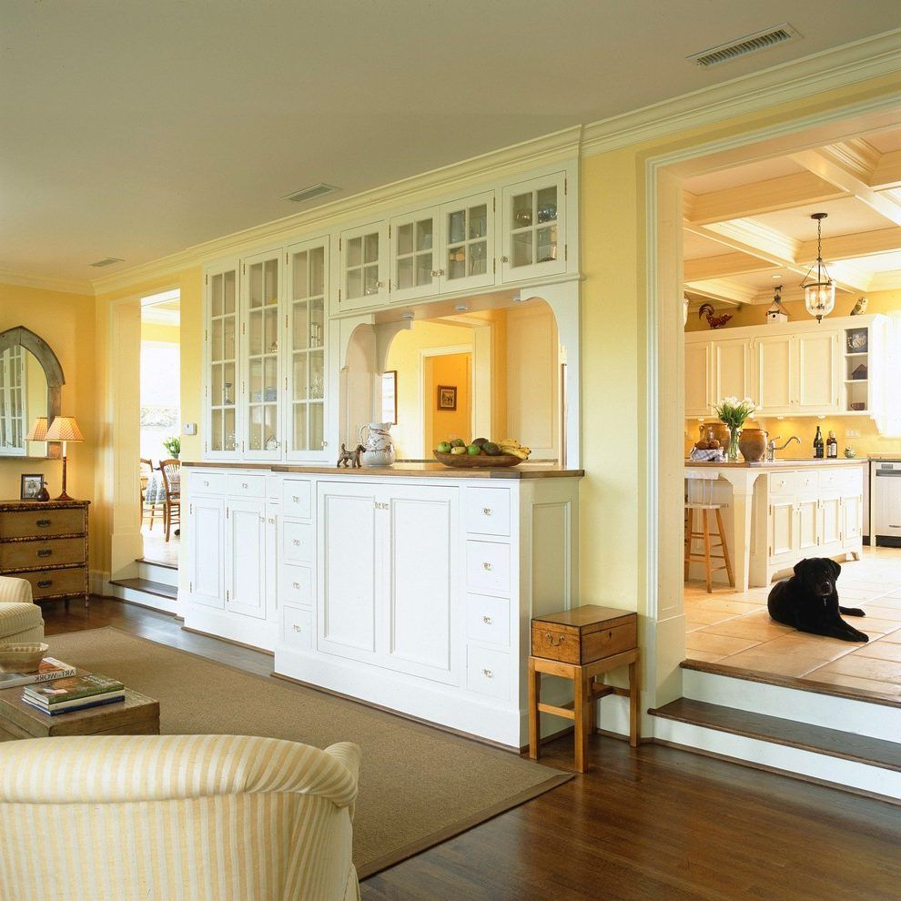 pass through opening living room traditional with built ...