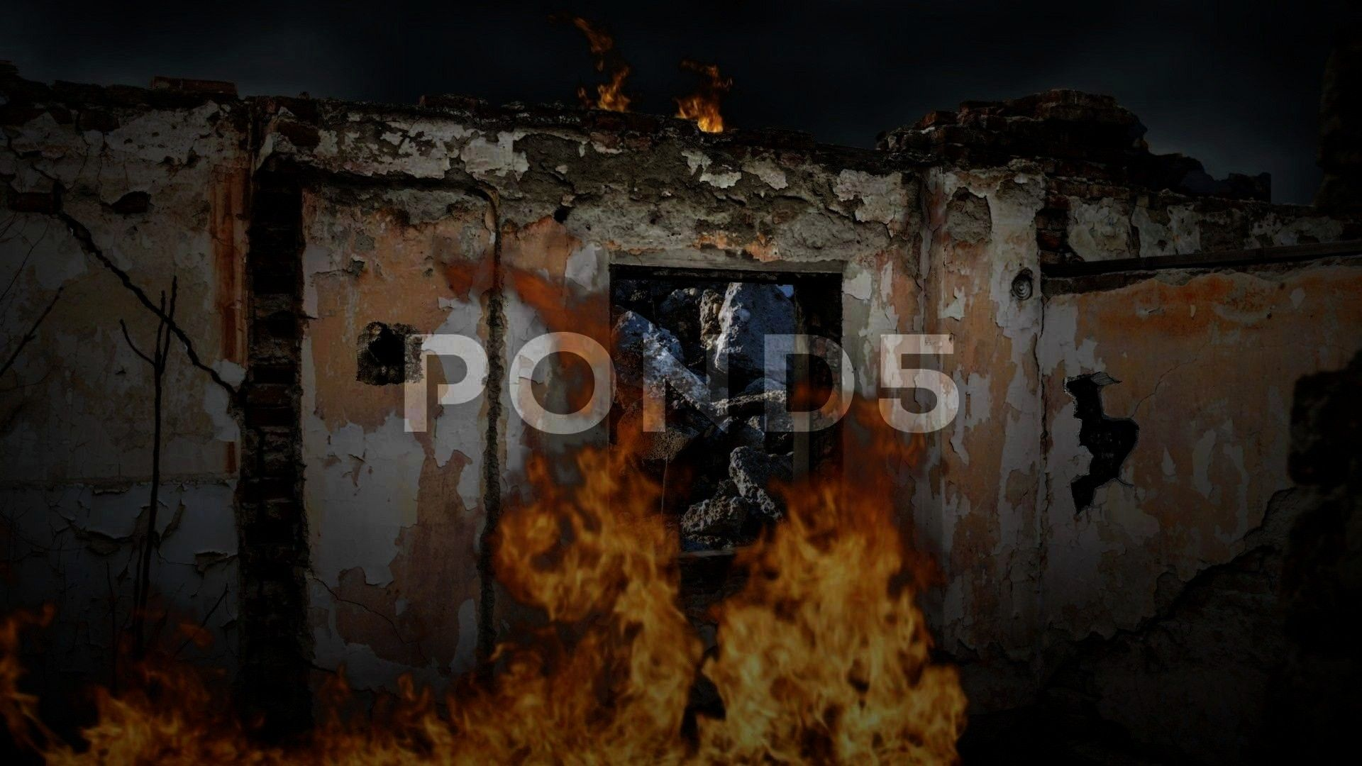 fire Stock Footage debrisbuildingBombedFootageBombed out building debris with fire Stock Footage debrisbuildingBombedFootage Pont Rouge camp for the homeless in Port Au P...