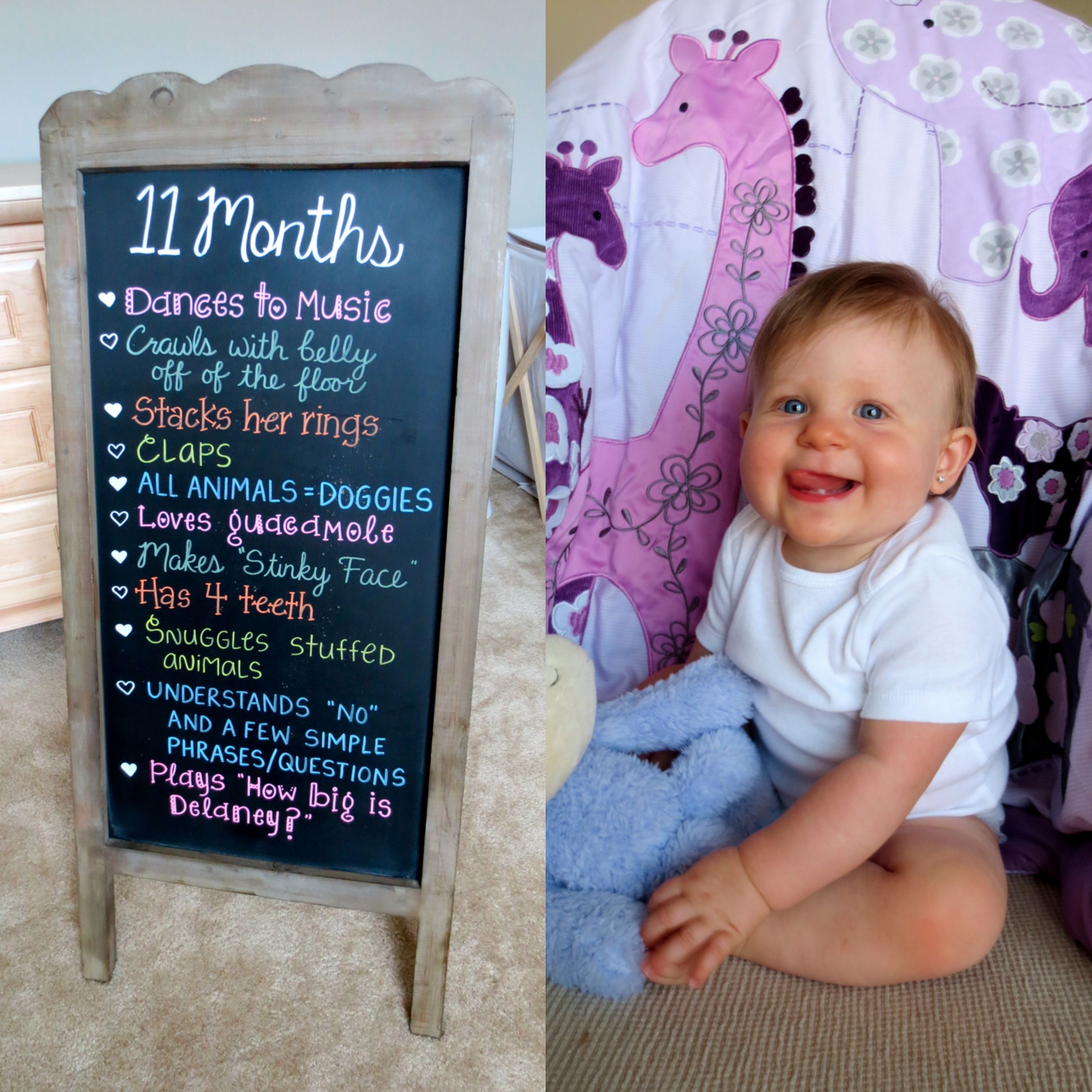 11 Months Baby Chalkboard Baby Month By Month Photographing Babies Baby Photoshoot