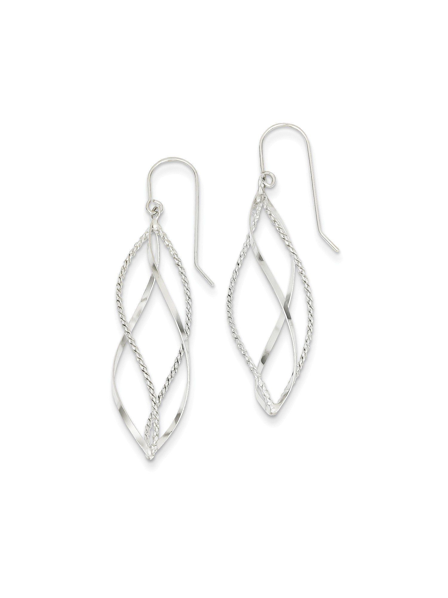 14k White Gold Textured Twisted Dangle Earrings