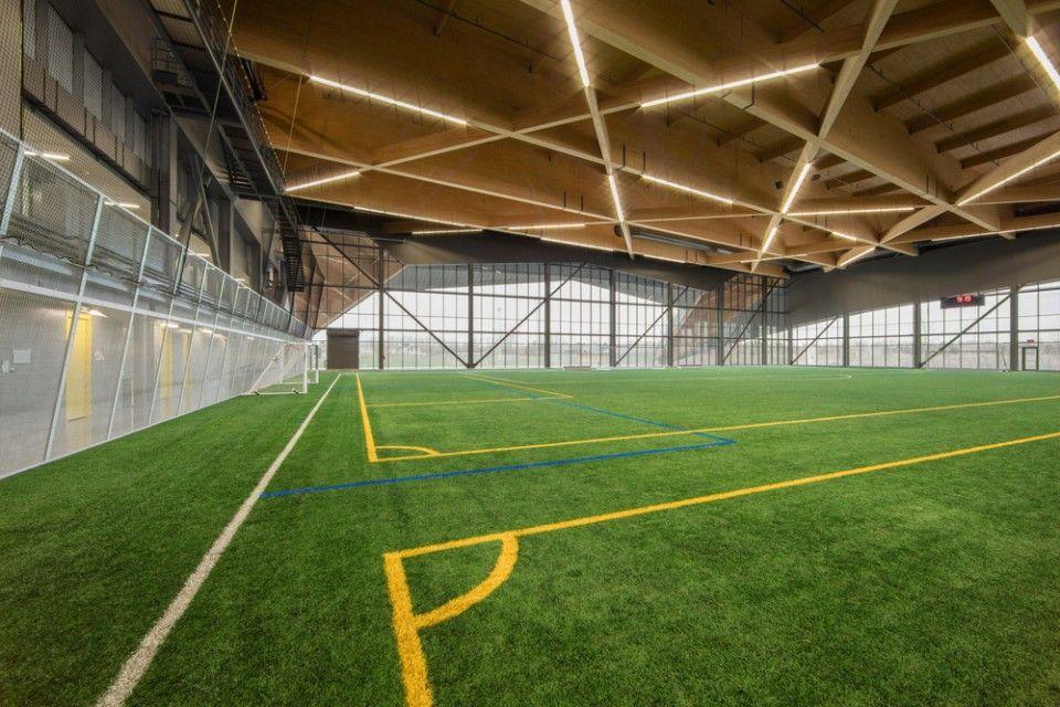 Stade De Soccer De Montrealsaucier Perrotte Architectes Soccer Stadium Stadium Design Indoor Soccer Field