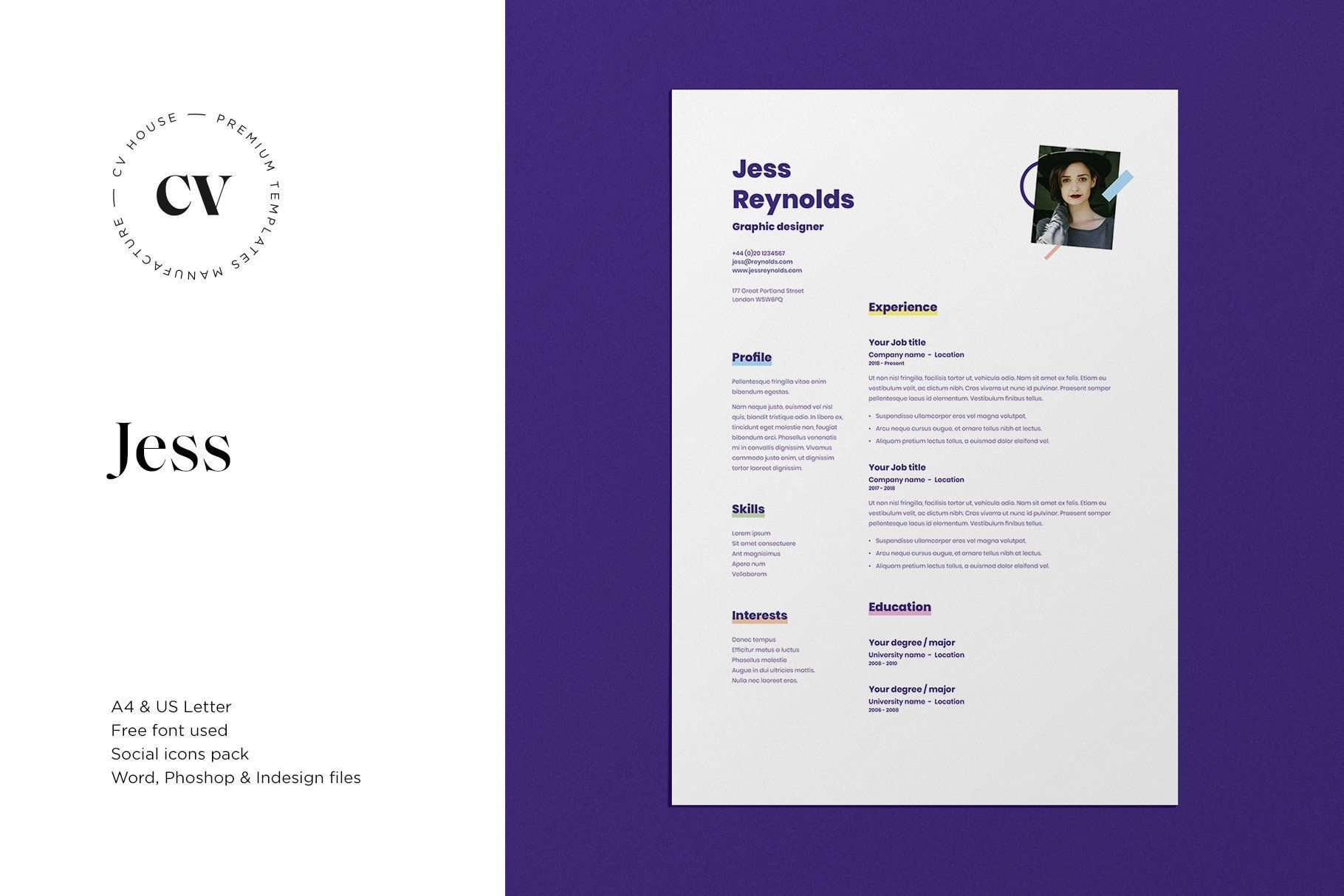 Jess Cv Resume Template Cv Resume Template Resume Template Photoshop Program