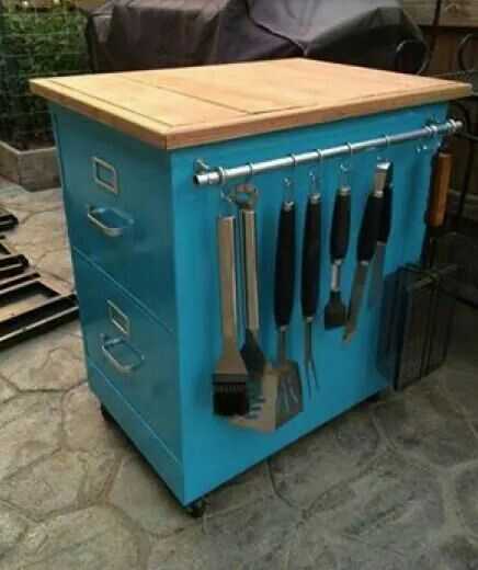 Make A Grill / Kitchen Cart Using An Old File Cabinet...awesome Upcycled.  GrillplatzOutdoor KücheSelbermachenKochinselnMobile KücheninselBewegliche  ...