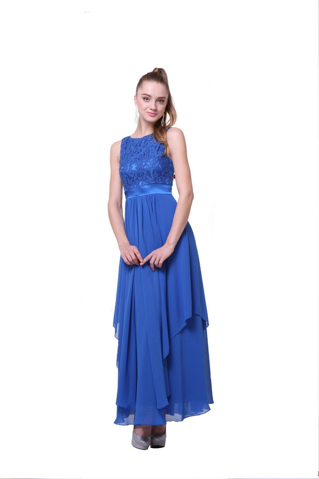 Long bohemian design formal bridesmaids dress waist over lay