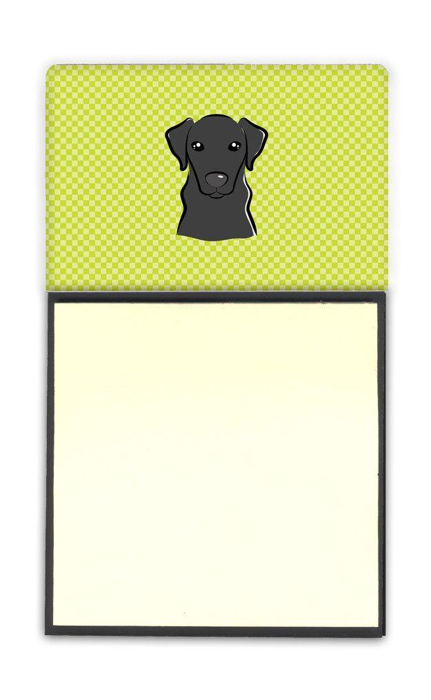 Checkerboard Lime Green Black Labrador Refiillable Sticky Note Holder or Postit Note Dispenser BB1297SN