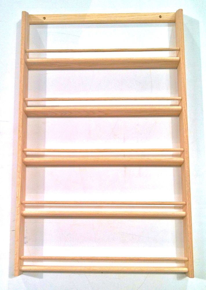 "Wood Spice Rack For Wall Solid Oak 5Shelf Wood Spice Rack  3275""h X 20""w  Wall Mount Wood"