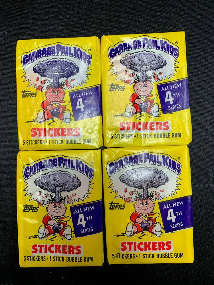 Lot Of 4 Unopened 1986 Garbage Pail Kids Series 4 Packs Topps Gpk Kids Series Garbage Pail Kids Garbage Pail Kids Cards