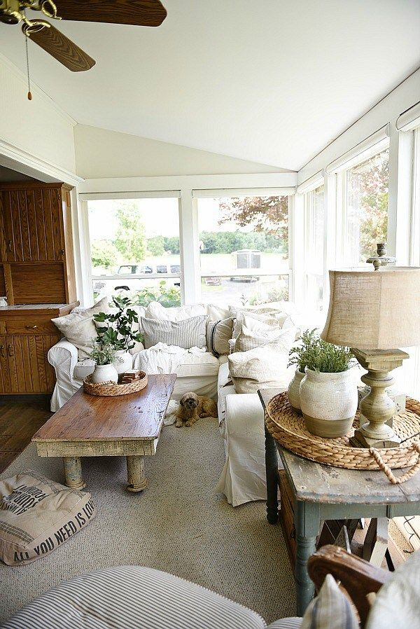 Sunroom makeover painted trim walls sunroom magnolia for Farmhouse sunroom ideas