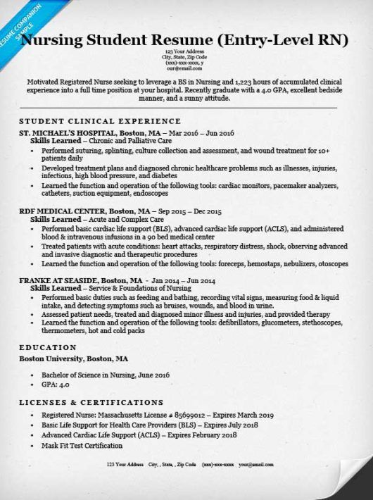 Nursing Student Resume Sample Entry Level Nurse Sle For College