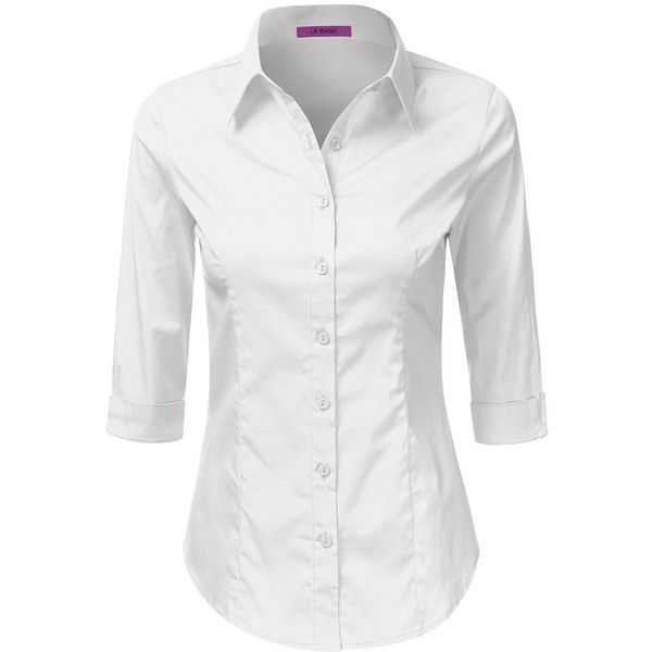 bdb878f1 LA BASIC Womens 3/4 Sleeve Button Down Point Collared Shirts (S-3XL) ($14)  ❤ liked on Polyvore featuring tops, three quarter sleeve shirts, three  quarter ...