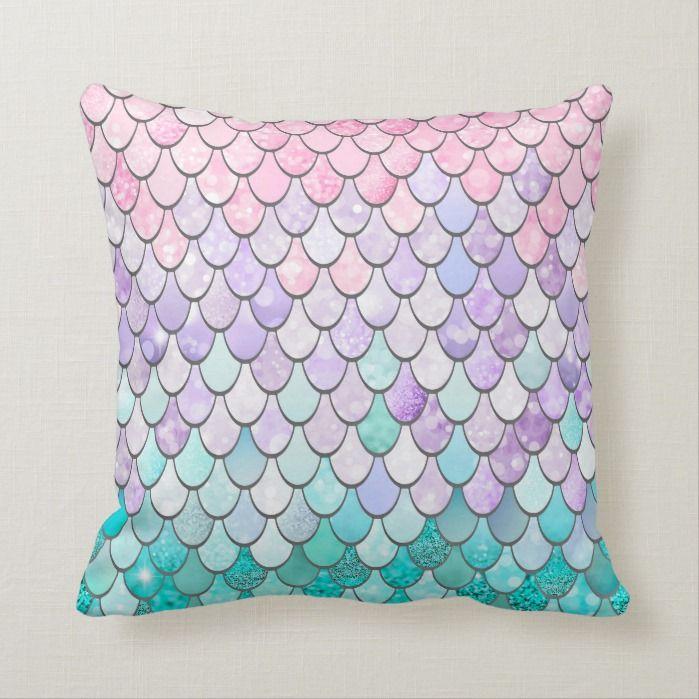 Mermaid Cushion, Girls Bedroom Decor Throw Pillow | Zazzle.com