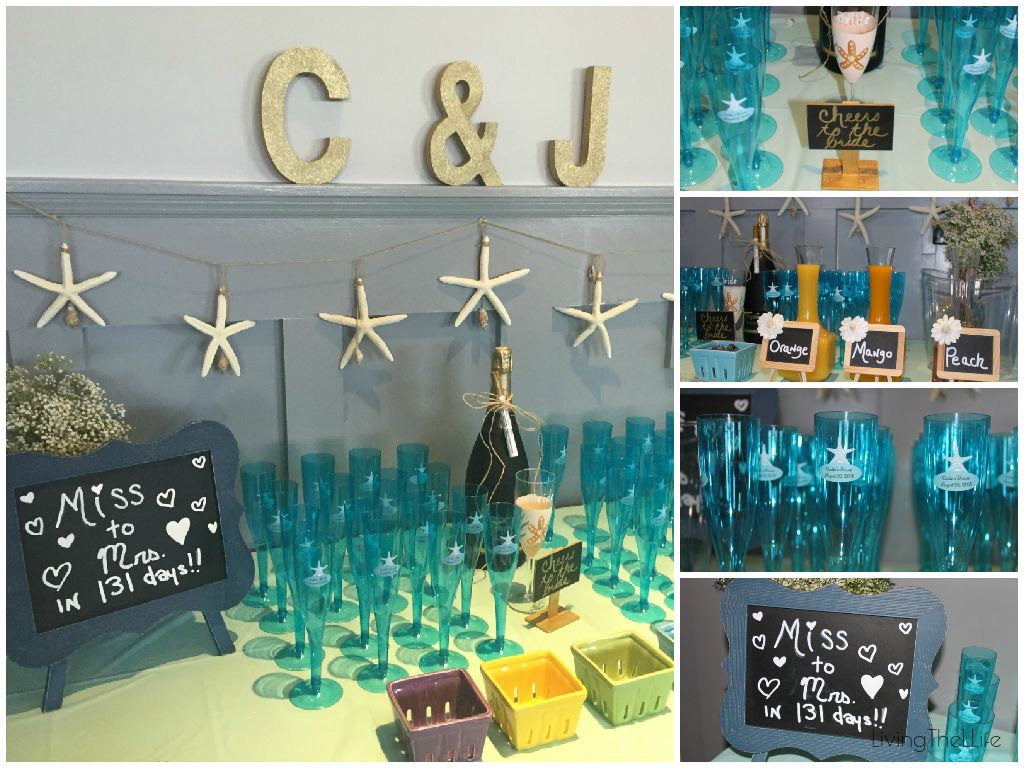 beach themed bridal shower decorations and champagne bar this post is packed with diy tips