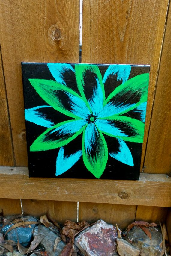 Blue And Green Flower On Black Background Floral By Paintzplz