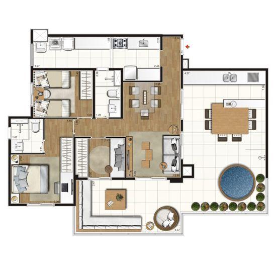 Planta Penthouse Class Varanda Mariana Pinterest Mariana and