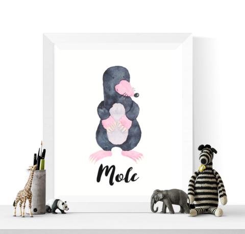 Mole Art   Mole Art Print   Watercolor Mole Printable   Watercolour Animal Art