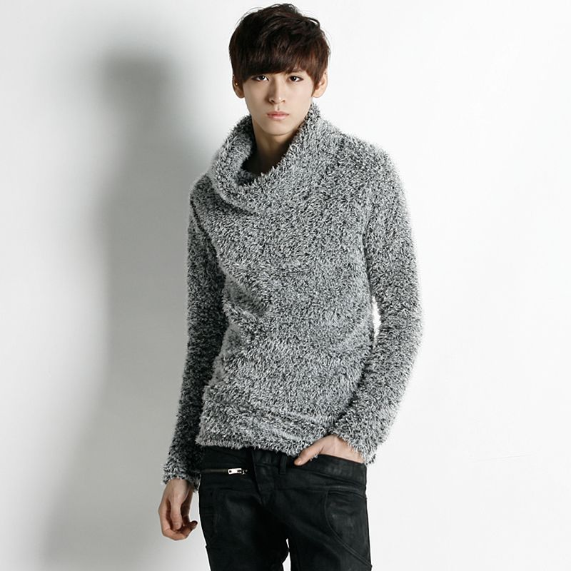 Asymmetric Fur Knit Turtleneck Sweater
