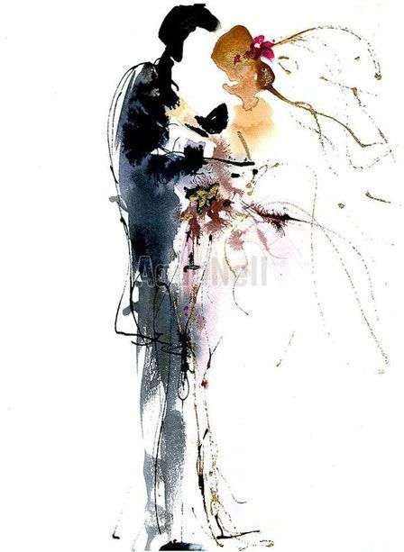 Aquarelle Mariage Illustration Faire Part Peinture Maries