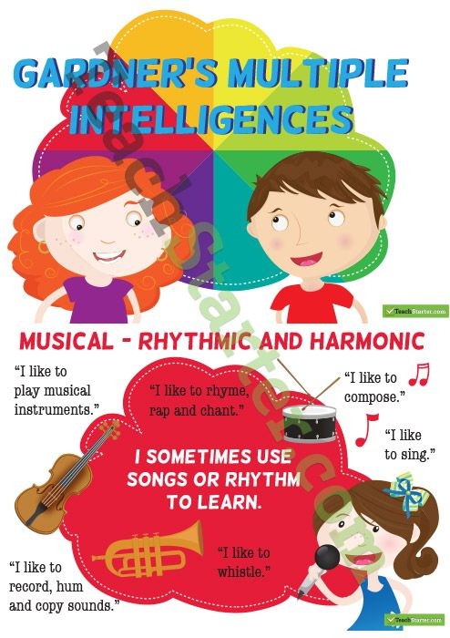 gardners multiple intelligences musical intelligence education essay Harvard graduate school of education, multiple intelligences, or mi, disputes the  idea that there  gardner's theory of mi also asserts that people have unique and  distinct  for instance, one child may have stronger musical intelligence and  if  your child is having trouble writing an essay about a topic for.