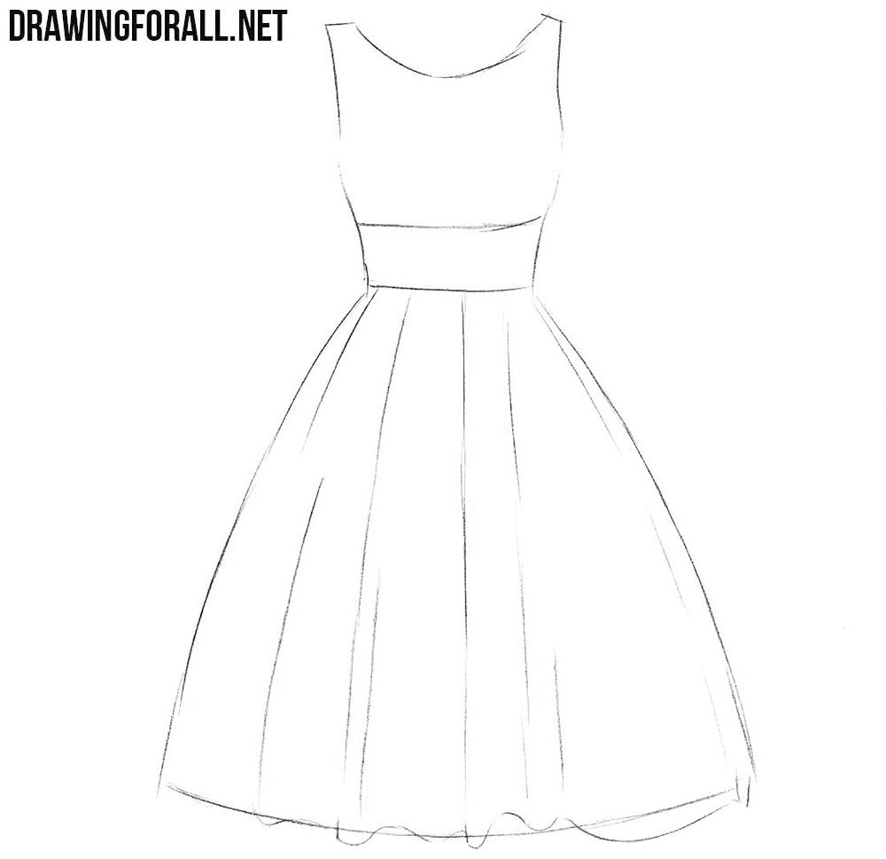 How To Draw A Dress Step By Step For Beginners Dress Design Sketches Dress Design Drawing Dress Drawing Easy