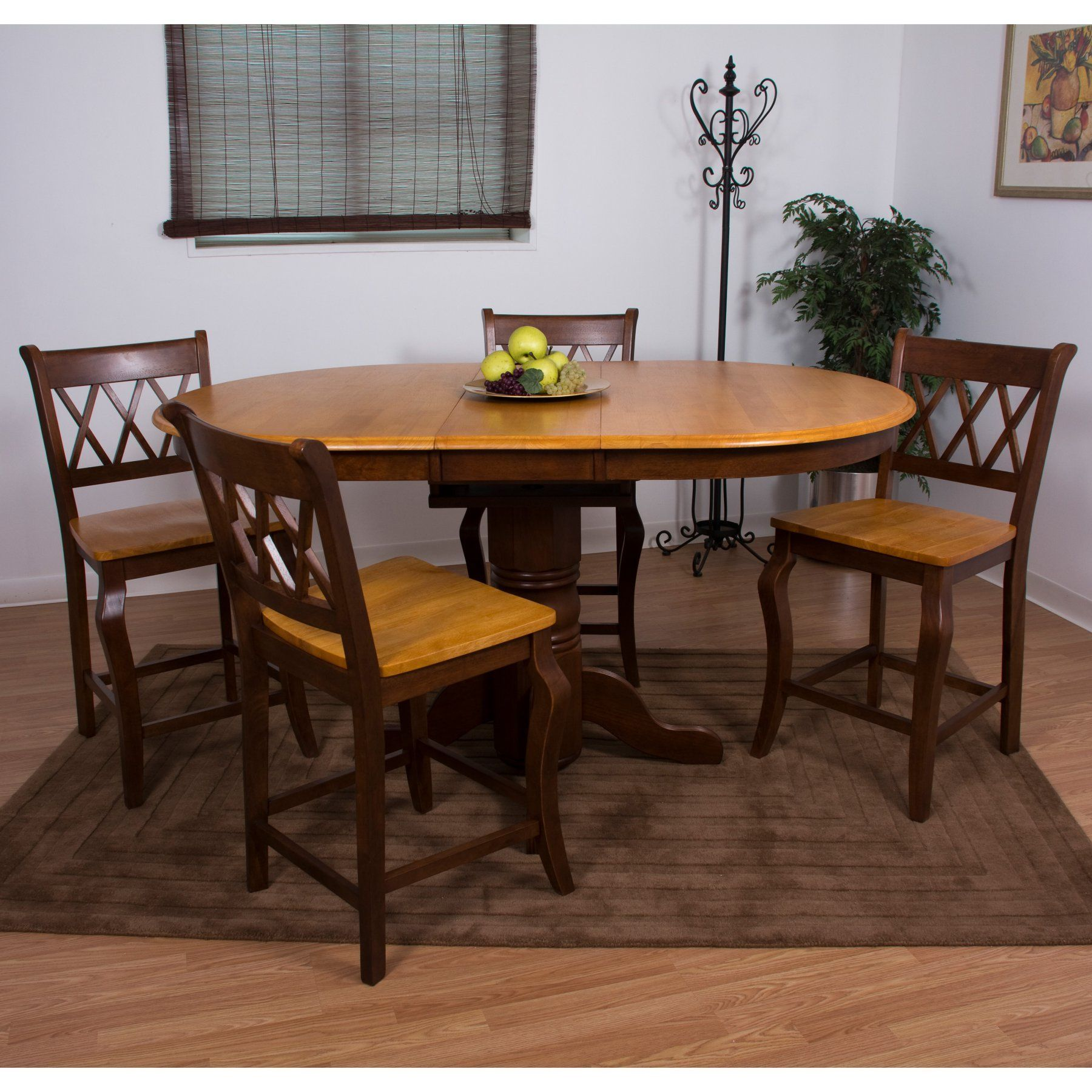 Sunset Trading 5 Piece Butterfly Leaf Pub Dining Table Set with