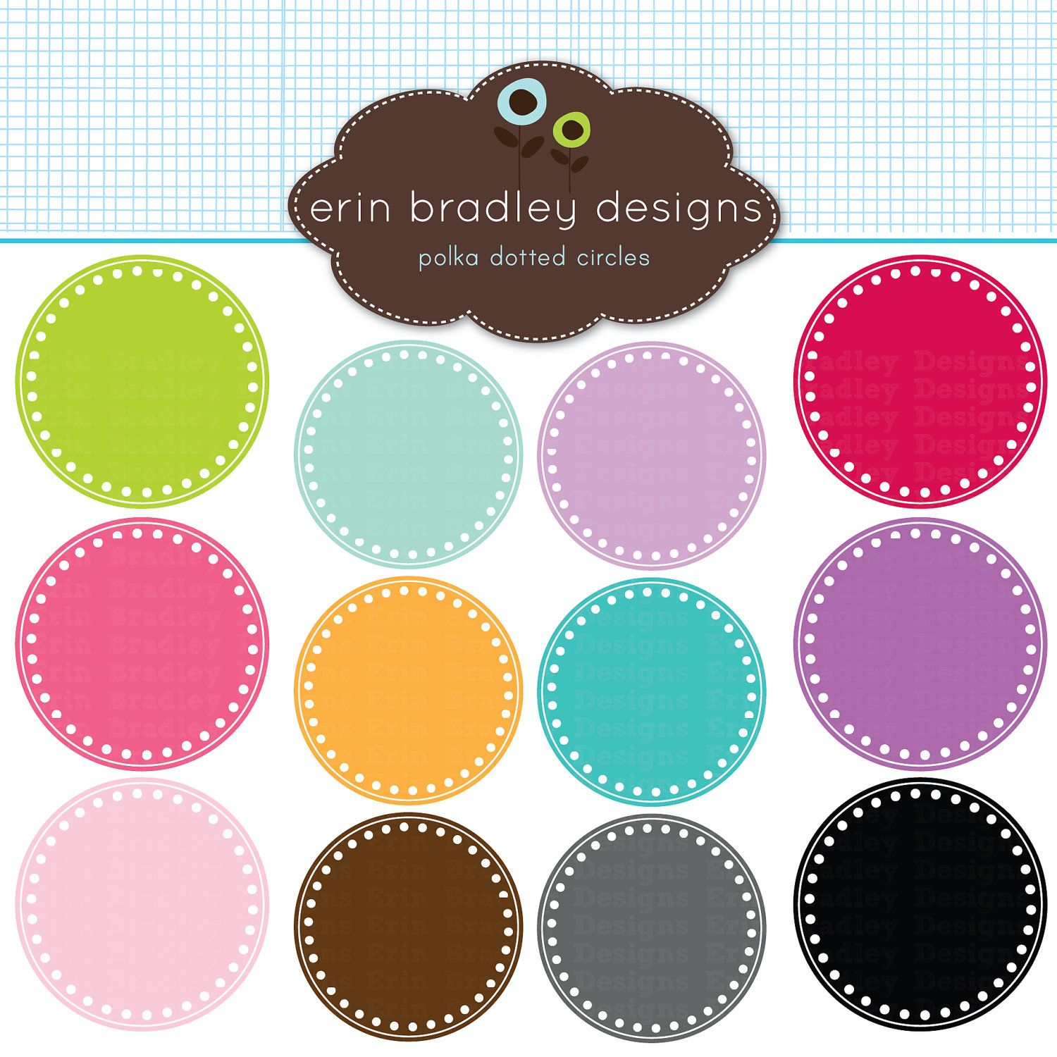 Digital Scrapbooking Clipart Clip Art Polka Dotted Circle Frames ...