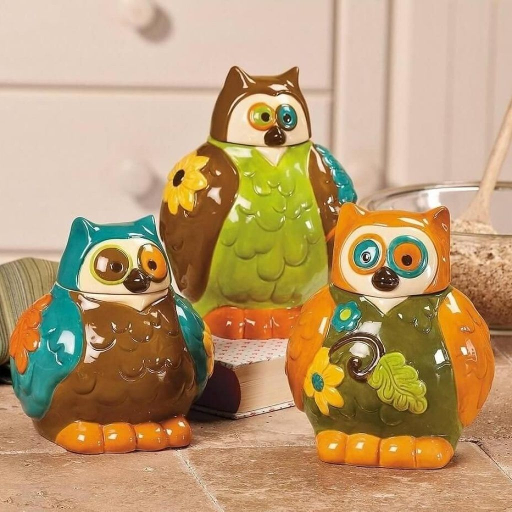 Orange owl kitchen decor