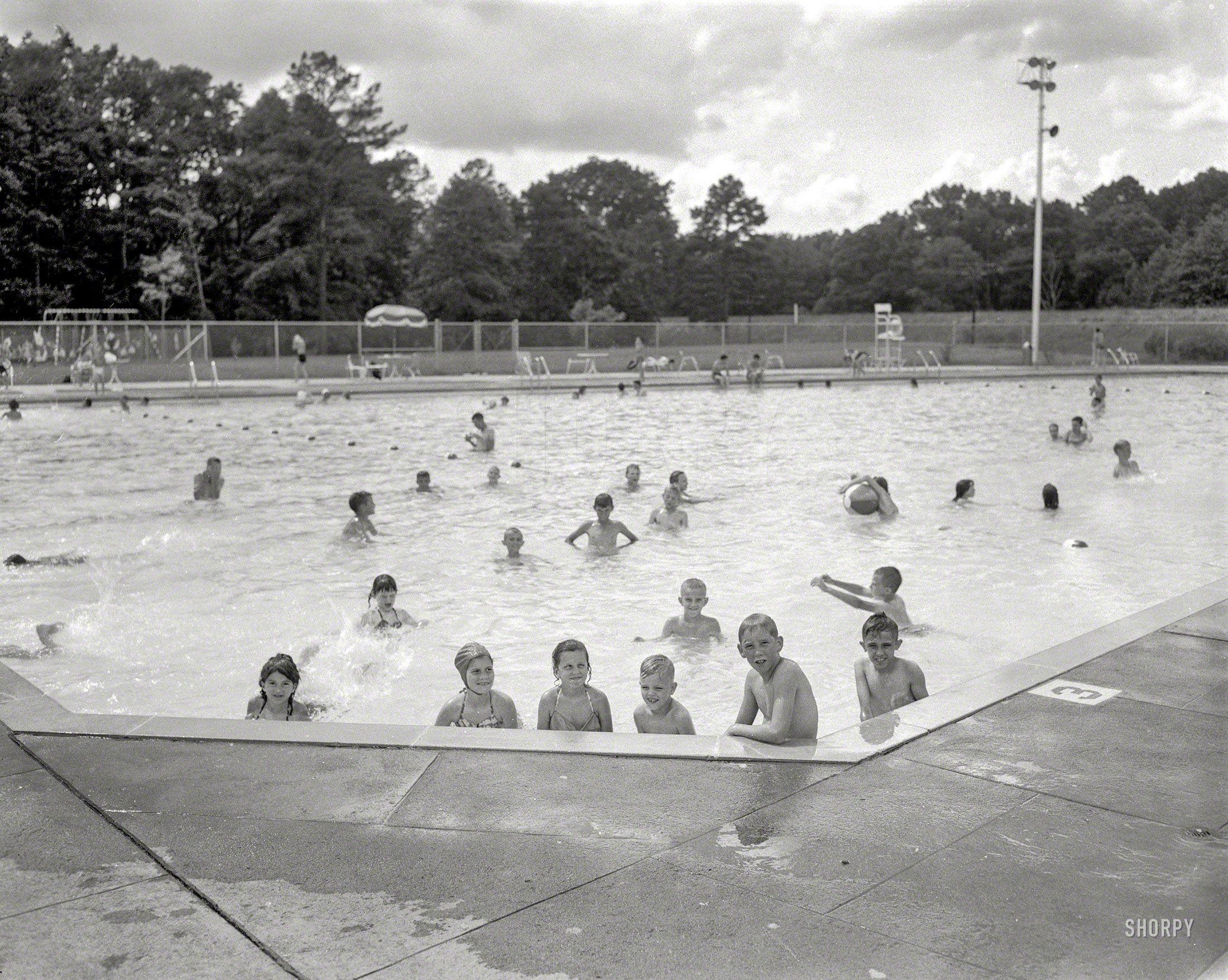 Public Pool Columbus Georgia Circa 1960 Municipal Pool 4x5 Negative Vintage Children
