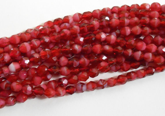 Fuchsia 25 6 mm Czech Glass Fire Polished Beads