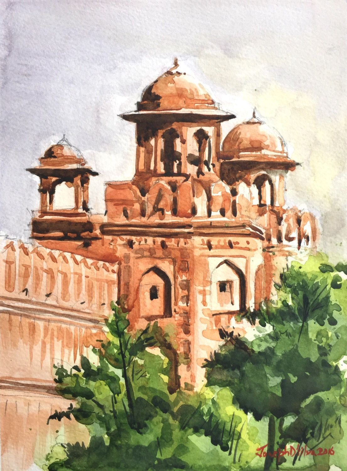 Connecticut watercolor artists directory - Red Fort India Indian Painting Delhi Painting India Art India Wall Art Original Watercolor Painting Watercolors Paintings Original