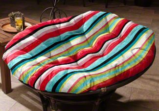 Custom Papasan Cushion using Tropical Paint Stripe - a great fabric if you are looking to brighten up your dorm!